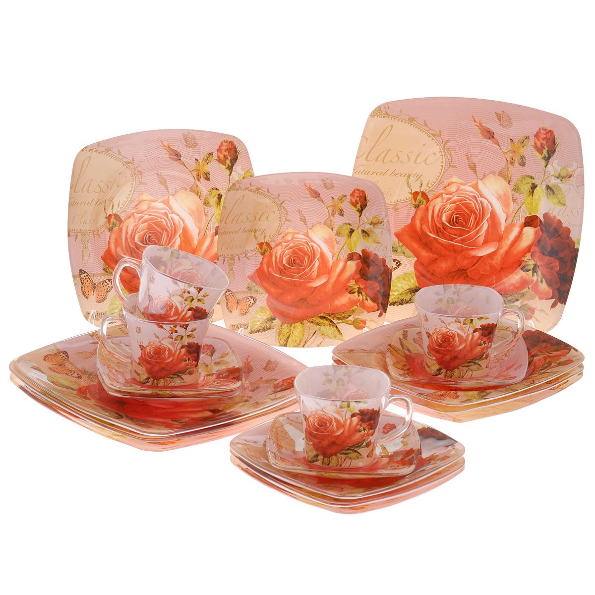 Набор посуды Чайная роза, 20 предметов11607-20Набор посуды состоит из 4 чашек, 4 блюдец, 4 тарелок для супа, 4 обеденных тарелок, 4 десертных тарелок. Изделия выполнены из высококачественного стекла и оформлены изображением розы. Этот набор эффектно украсит стол к обеду, а также прекрасно подойдет для торжественных случаев. Красочность оформления придется по вкусу и ценителям классики, и тем, кто предпочитает утонченность и изящность.