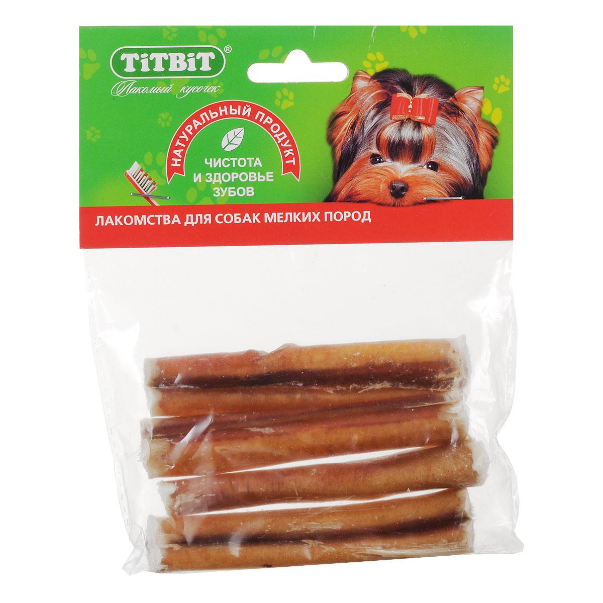 Лакомство для собак мелких пород Titbit, корень бычий резанный, 4 шт0120710В одной упаковке Titbit содержатся 4 высушенных резаных бычьих корня длиной около 10 см. Большое содержание аминокислот и микроэлементов оказывает положительное воздействие на общий обмен веществ собаки. Особенно любимое лакомство у собак всех пород и возрастов. Неповторимый вкус этого лакомства надолго отвлечет вашего питомца от любых дел. Рекомендации к применению: для удаления зубного налета, профилактики зубного камня. Способствуют укреплению десен и жевательных мышц. Развивают зубочелюстной аппарат, отвлекают собаку во время смены зубов. Для собак всех пород с 1,5 - 2 месяцев. Состав: высушенный бычий пенис. Количество в упаковке: 4 шт. Средняя длина лакомства: 10 см. Товар сертифицирован.