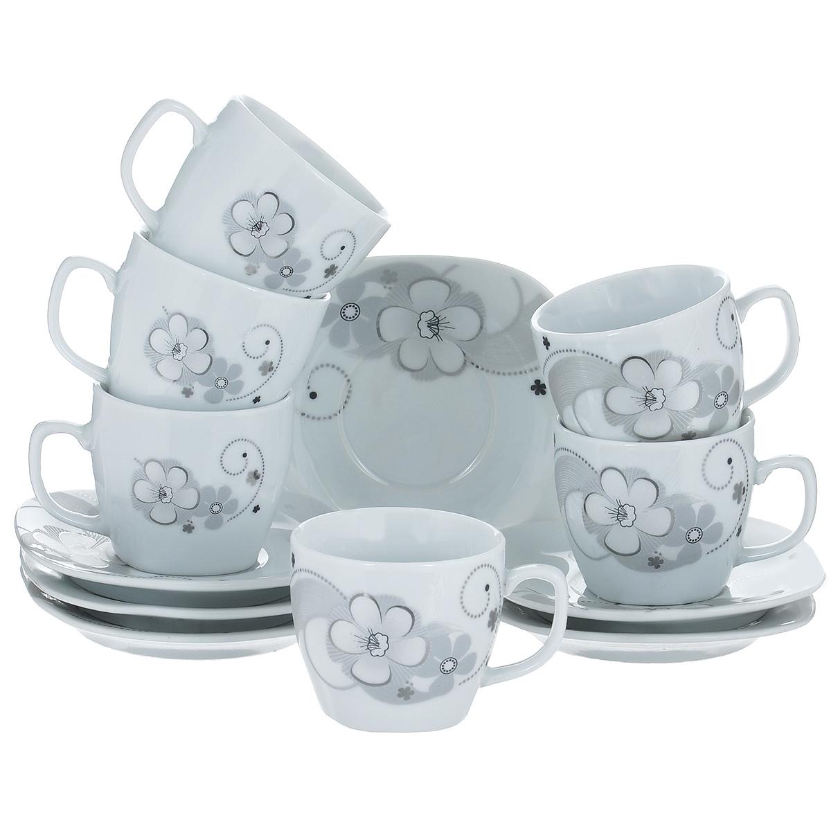 Набор кофейный Bekker, 12 предметовBK-6813Набор кофейный Bekker состоит из 6 чашек и 6 блюдец. Чашки и блюдца изготовлены из высококачественного фарфора с изображением цветов. Такой дизайн, несомненно, придется по вкусу и ценителям классики, и тем, кто предпочитает утонченность и изящность. Набор кофейный на подставке Bekker украсит ваш кухонный стол, а также станет замечательным подарком к любому празднику. Набор упакован в подарочную коробку из плотного цветного картона. Внутренняя часть коробки задрапирована белой атласной тканью, и каждый предмет надежно крепится в определенном положении благодаря особым выемкам в коробке. Можно мыть в посудомоечной машине.
