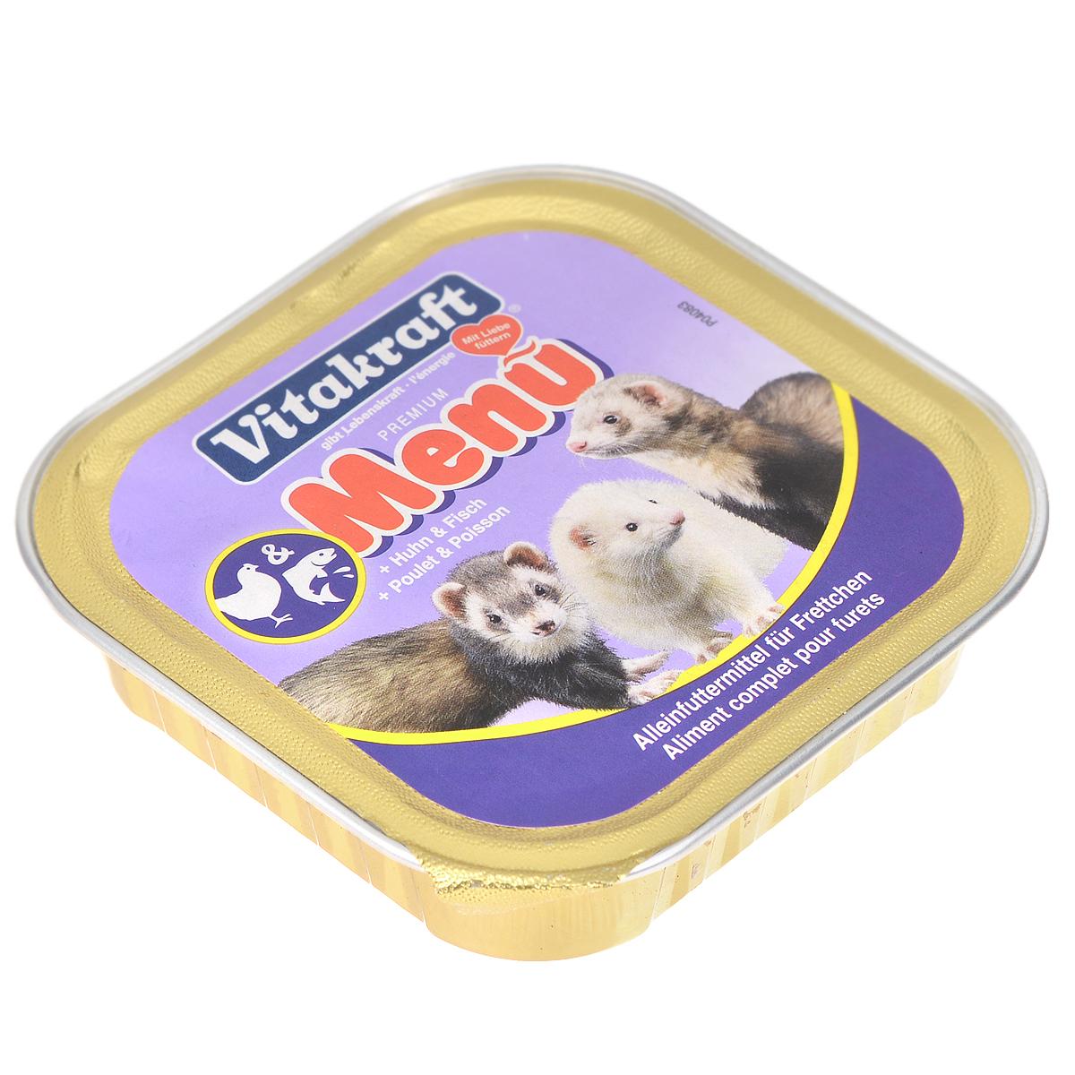 Консервы для хорьков Vitakraft Delikatess Menu, 100 г0120710Корм Vitakraft Delikatess Menu для хорьков для ежедневного применения. В консервах содержится комплекс жирных кислот, витаминов и минералов, заботящихся о хорошем внешнем виде шерсти и кожи животного.Благодаря оптимальному содержанию витаминов, минералов и питательных веществ рацион обеспечивает организм хорька всеми ресурсами, нужными для его нормальной жизнедеятельности и хорошего здоровья.Состав: мясо и мясные субпродукты, рыба и рыбные субпродукты, минералы. Пищевая ценность: 10% протеин, 5% жир, 0,2% клетчатка, 2% зола, 0,4% кальций, 0,3% фосфор, 82% влажность. Витамины: 30 мг витамин Е. Применение: давать 1 банку в день. Вес: 100 г.