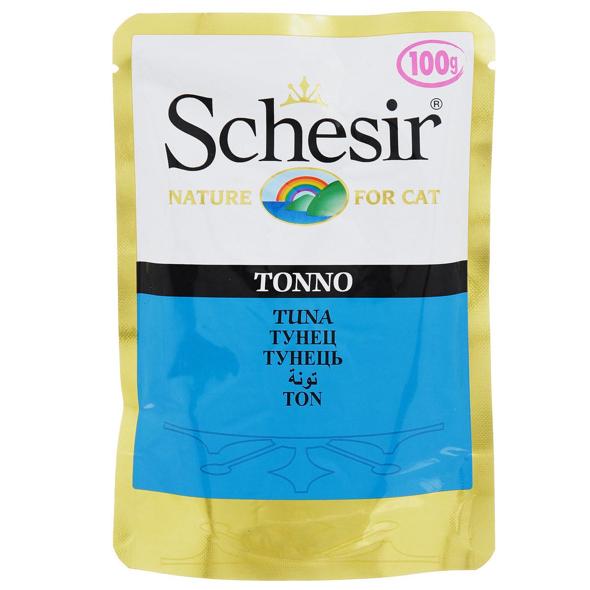 Консервы для кошек Schesir, с тунцом, 100 г0120710Консервы Schesir - это полнорационный корм для кошек. Состав: тунец (50% минимум), овощное желе. Содержание элементов: сырой протеин 12%, жиры 0,5%, клетчатка 0,1%, зола1,2%, влажность 82%.Витамины: А - 1325 МЕ, D3 - 110 МЕ, Е - 15 мг, таурин 160 мг. Вес: 100 г. Товар сертифицирован.