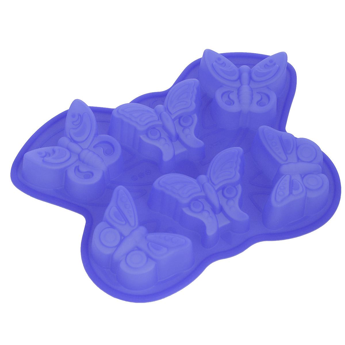 Форма для выпечки Bekker Бабочки, силиконовая, цвет: синий, 6 ячеек300196Форма для выпечки Bekker Бабочки изготовлена из силикона. Силиконовые формы для выпечки имеют много преимуществ по сравнению с традиционными металлическими формами и противнями. Они идеально подходят для использования в микроволновых, газовых и электрических печах при температурах до +250°С. В случае заморозки до -50°С. Можно мыть в посудомоечной машине. За счет высокой теплопроводности силикона изделия выпекаются заметно быстрее. Благодаря гибкости и антиприлипающим свойствам силикона, готовое изделие легко извлекается из формы. Для этого достаточно отогнуть края и вывернуть форму (выпечке дайте немного остыть, а замороженный продукт лучше вынимать сразу). Силикон абсолютно безвреден для здоровья, не впитывает запахи, не оставляет пятен, легко моется. Форма для выпечки Bekker Бабочки - практичный и необходимый подарок любой хозяйке!
