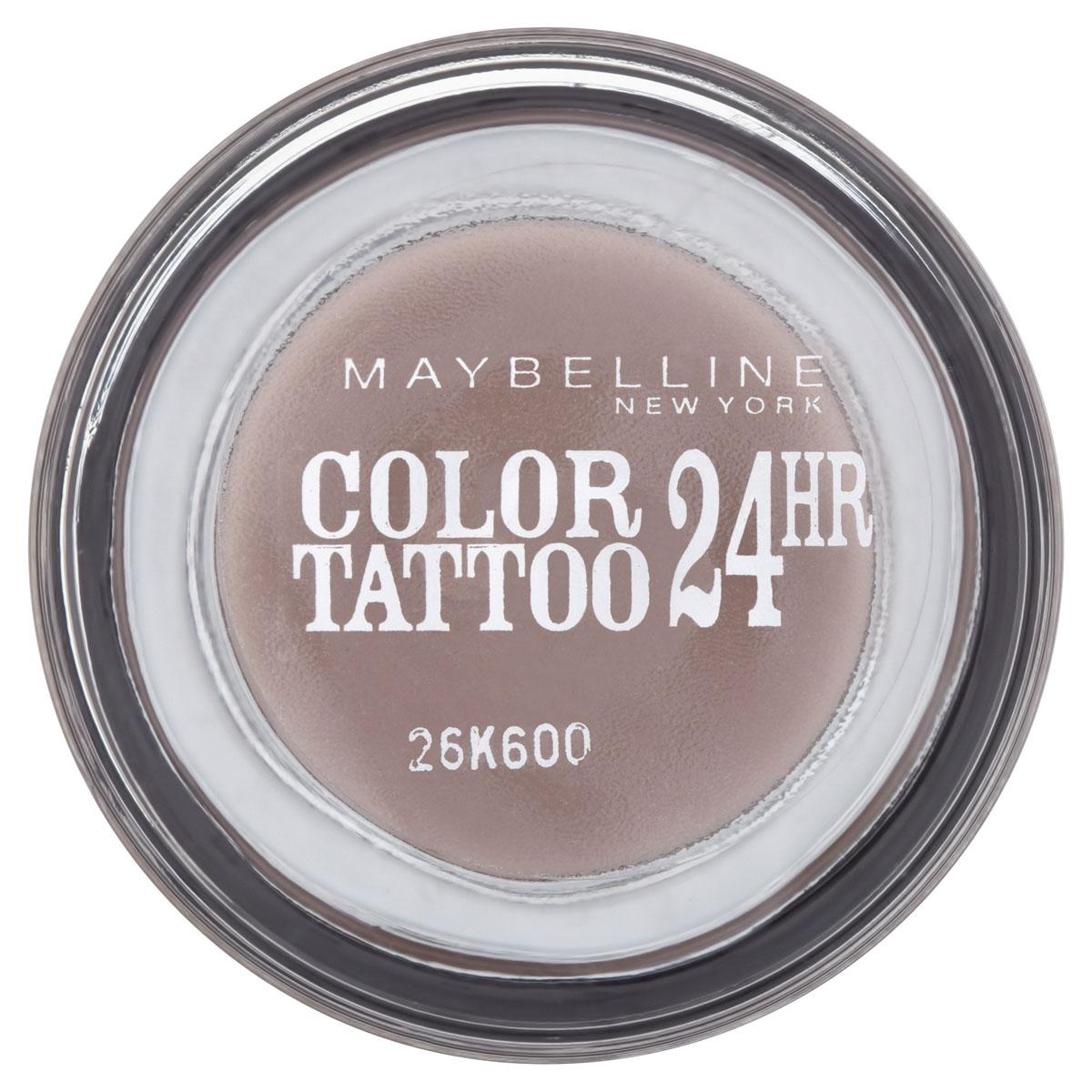 Maybelline New York Тени для век Color Tattoo 24 часа, оттенок 40, Долговечный коричневый, 4 млB1949700Осмелься на ультраяркий, самый стойкий цвет! Супернасыщенные крем-гелевые тени с технологией тату-пигментов. Насыщенные, устойчивые тени Maybelline Color Tattoo 24 часа предназначены для дневного и вечернего макияжа. Тени словно татуировка надежно закрепляются на коже, не боятся влаги, не скатываются и не размазываются, даже если потереть глаза рукой. Товар сертифицирован.
