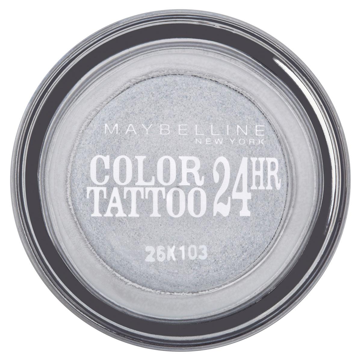 Maybelline New York Тени для век Color Tattoo 24 часа, оттенок 50, Неизменное серебро, 4 млB1949900Технология тату-пигментов создает яркий, супернасыщенный цвет. Крем-гелевая текстура обеспечивает ультралегкое нанесение и стойкость на 24 часа. 12 оттенков