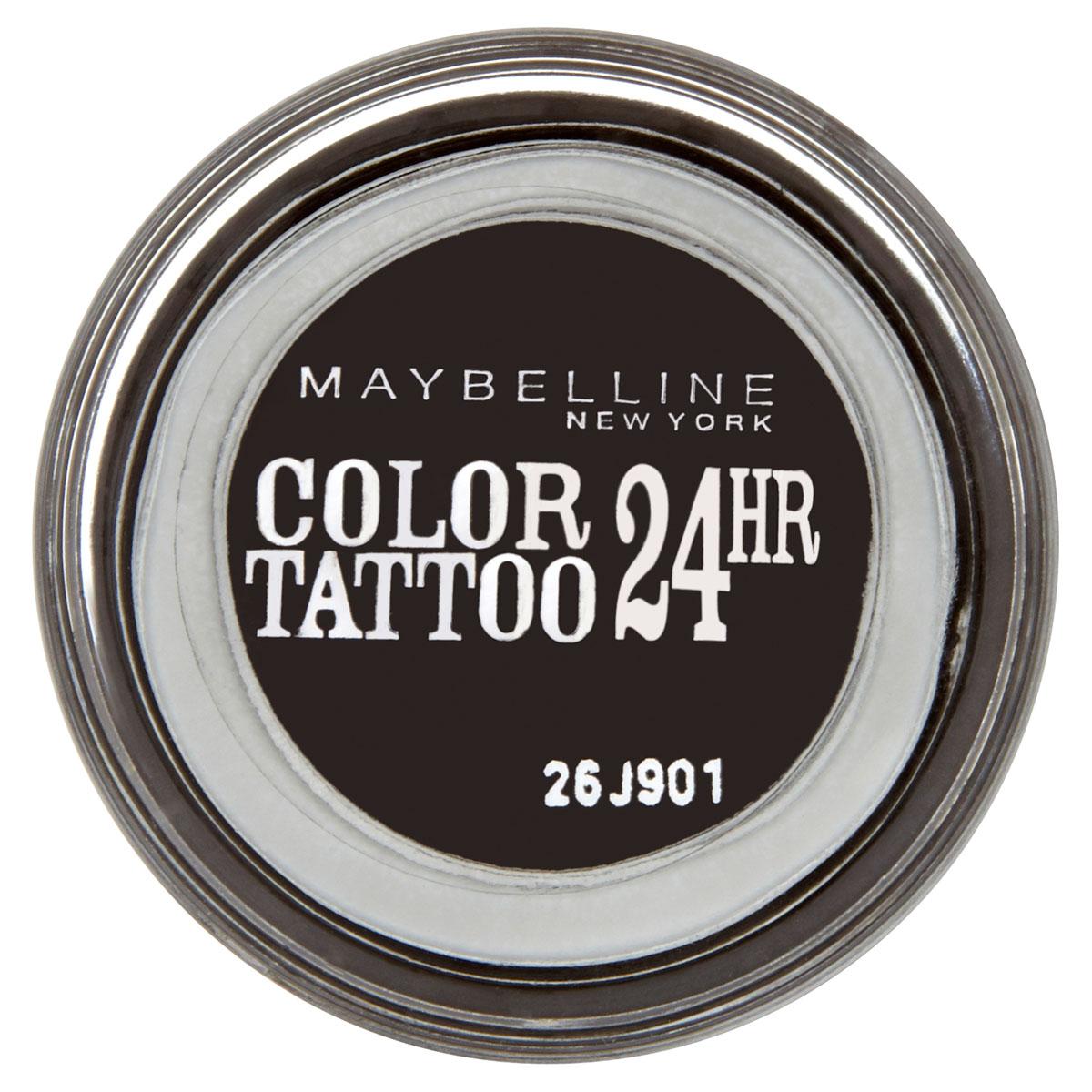 Maybelline New York Тени для век Color Tattoo 24 часа, оттенок 60, Бессменный черный, 4 млB1950100Технология тату-пигментов создает яркий, супернасыщенный цвет. Крем-гелевая текстура обеспечивает ультралегкое нанесение и стойкость на 24 часа. 12 оттенков