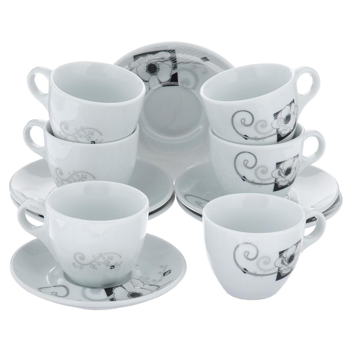 Набор кофейный Bekker, 12 предметов. BK-6815115510Набор кофейный Bekker состоит из 6 чашек и 6 блюдец. Чашки и блюдца изготовлены из высококачественного фарфора с изображением цветов. Такой дизайн, несомненно, придется по вкусу и ценителям классики, и тем, кто предпочитает утонченность и изящность. Набор кофейный на подставке Bekkerукрасит ваш кухонный стол, а также станет замечательным подарком к любому празднику. Набор упакован в подарочную коробку из плотного цветного картона. Внутренняя часть коробки задрапирована белой атласной тканью, и каждый предмет надежно крепится в определенном положении благодаря особым выемкам в коробке. Можно мыть в посудомоечной машине.