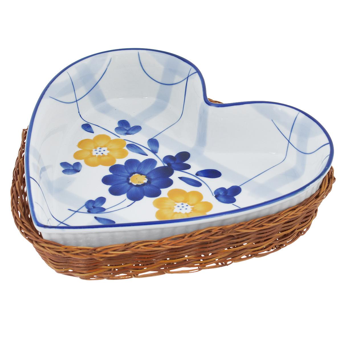 Блюдо Bekker Dish с корзиной, цвет: синий, белый, 24,5 см х 24 смBK-7329 (16)Блюдо Bekker Dish изготовлено из высококачественной жаропрочной керамики и декорировано изображением цветов. В комплект входит плетеная корзина-подставка, изготовленная из ротанга. Изделия из керамики идеально подходят как для приготовления пищи, так и для подачи на стол. Материал не содержит свинца и кадмия. С такой формой вы всегда сможете порадовать своих близких оригинальным блюдом. Блюдо можно использовать в духовке и микроволновой печи. Можно мыть в посудомоечной машине.