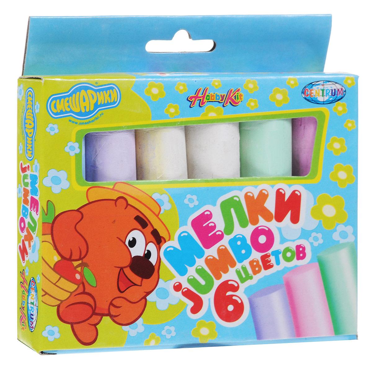 Мелки цветные Смешарики Jumbo, 6 цветов83979Цветные мелки Смешарики Jumbo с круглым корпусом помогут юным художникам преобразить мир вокруг. Их утолщенная форма создана специально для маленьких детских ручек, поэтому малышам очень удобно ими пользоваться. Мелки пригодятся для игры в классики, помогут создать огромные картины на асфальте и прекрасные рисунки на доске дома, в школе или в детском саду. В комплекте два мелка белого цвета и четыре мелка зеленого, фиолетового, голубого и розового цветов. С их помощью малыш сможет создать яркие, радостные и неповторимые картины.