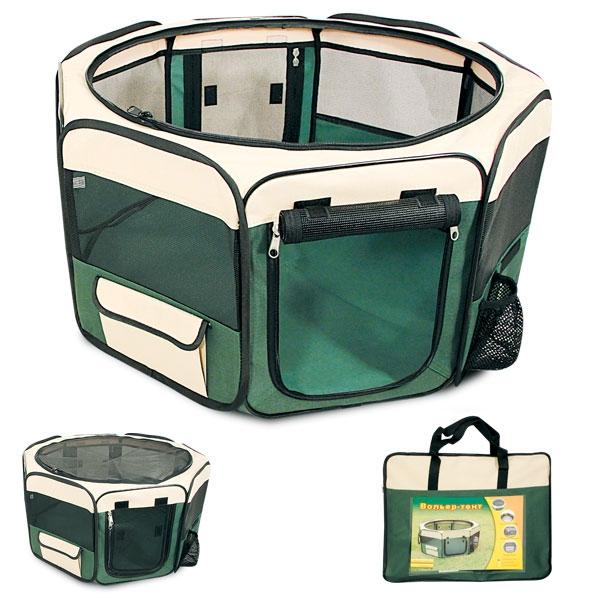 Вольер-тент для собак, 92 см х 92 см 43 смDCC1048MВольер-тент для собак, изготовленный из прочного водонепроницаемого материала, незаменим в путешествии, дома или на улице. Вольер оснащен двумя входами, закрывающимися на застежку-молнию, а также большим боковым карманом с клапаном на липучке и карманом для бутылки с водой. Сверху на застежку-молнию пристегивается сетчатая крыша. Пол прикрепляется на липучках, благодаря чему его можно легко отстегнуть и постирать. Запатентованная конструкция дает возможность легко и быстро собрать вольер и вложить его в удобную сумку-чехол. Такой вольер-тент - это лучший выбор для ваших четвероногих друзей! Размер вольера-тента: 92 см х 92 см 43 см.