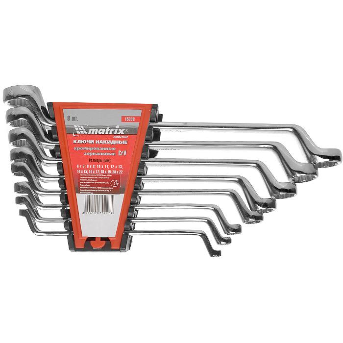 Набор накидных ключей Matrix, 8 шт15338Набор Matrix предназначен для работы с резьбовыми соединениями. Ключи гаечные коленчатые имеют два кольцевых зева разного размера. Профиль кольцевого зева оснащен 12 гранями, что увеличивает площадь соприкосновения рабочих поверхностей и снижает риск деформации граней крепежа при монтаже. Инструменты набора выполнены из высококачественной хромованадиевой стали с зеркальным хромированием. В состав набора входят ключи: 6 х 7 мм, 8 х 9 мм, 10 х 11 мм, 12 х 13 мм, 14 х 15 мм, 16 х 17 мм, 18 х 19 мм, 20 х 22 мм.