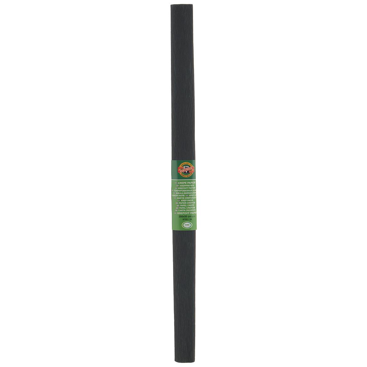 Бумага гофрированная Koh-I-Noor, цвет: черный, 50 см x 2 м9755/24 черн.Гофрированная бумага Koh-I-Noor - прекрасный материал для декорирования, изготовления эффектной упаковки и различных поделок. Бумага прекрасно держит форму, не пачкает руки, отлично крепится и замечательно подходит для изготовления праздничной упаковки для цветов.