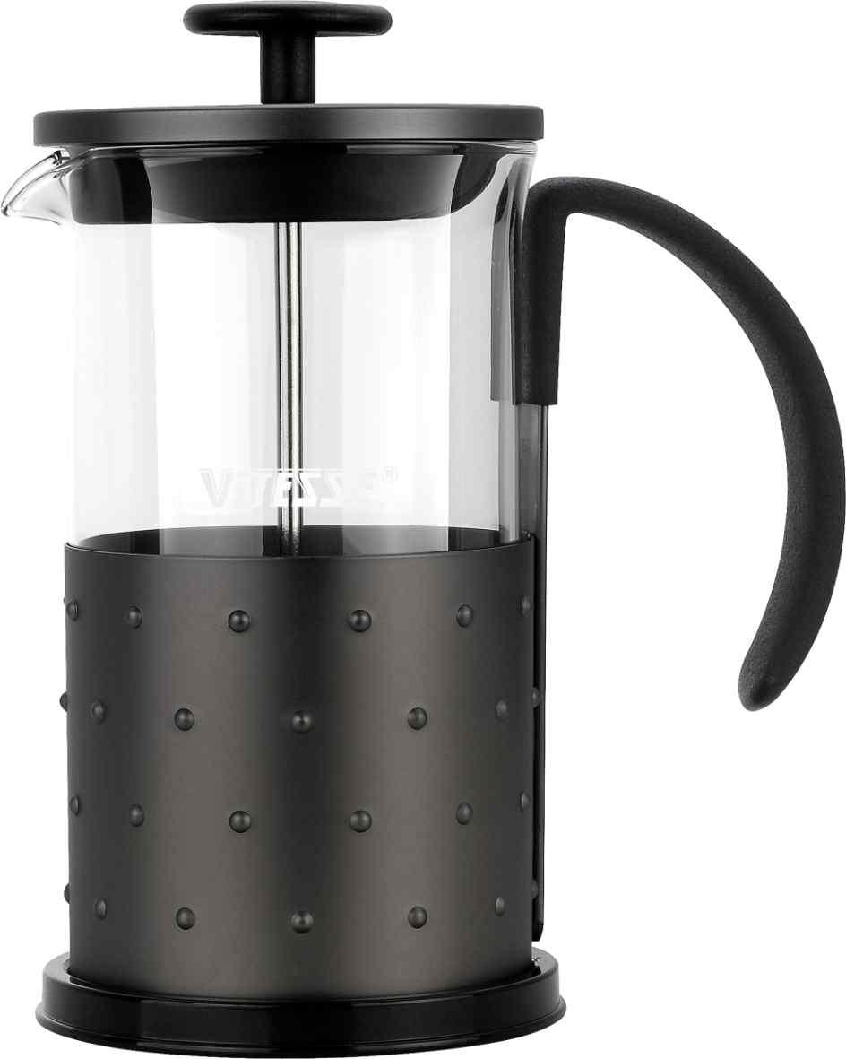 Кофеварка френч-пресс Vitesse, с мерной ложкой, 600 мл. VS-261794672Кофеварка Vitesse с фильтром френч-пресс поможет вам в приготовлении ароматного кофе.Колба френч-пресса Vitesse выполнена из термостойкого стекла, что позволяет наблюдать процесс настаивания и заваривания напитка, а также обеспечивает гигиеничность посуды. Внешний корпус, выполненный из нержавеющей стали с рельефной поверхностью, долговечен, прочен и устойчив к деформации и образованию царапин. Френч-пресс имеет удобную прорезиненную ручку, носик, а так же мерную ложку, выполненную из пластика.Кофеварки предназначены для приготовления кофе методом настаивания и отжима. Вы также можете использовать френч-пресс для заваривания чая и различных трав.Уникальный дизайн полностью соответствует последним модным тенденциям в создании предметов бытовой техники.Можно использовать в посудомоечной машине. Высота кофеварки (без учета крышки): 16,5 см. Размер кофеварки (с учетом крышки и ручки): 19 см х 16 см х 9,8 см. Диаметр основания: 9,8 см.Диаметр по верхнему краю: 9 см. Объем кофеварки: 600 мл. Длина ложки: 10 см.