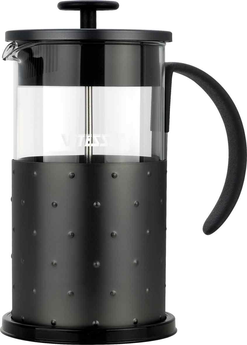 Кофеварка френч-пресс Vitesse, с мерной ложкой, 1 л. VS-2619VS-2619Кофеварка Vitesse с фильтром френч-пресс поможет вам в приготовлении ароматного кофе. Колба френч-пресса Vitesse выполнена из термостойкого стекла, что позволяет наблюдать процесс настаивания и заваривания напитка, а также обеспечивает гигиеничность посуды. Внешний корпус, выполненный из нержавеющей стали с рельефной поверхностью, долговечен, прочен и устойчив к деформации и образованию царапин. Френч-пресс имеет удобную прорезиненную ручку, носик, а так же мерную ложку, выполненную из пластика. Кофеварки предназначены для приготовления кофе методом настаивания и отжима. Вы также можете использовать френч-пресс для заваривания чая и различных трав. Уникальный дизайн полностью соответствует последним модным тенденциям в создании предметов бытовой техники. Можно использовать в посудомоечной машине.