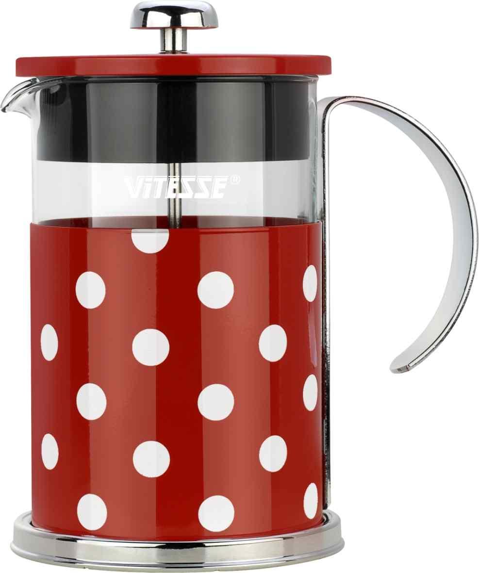 Кофеварка френч-пресс Vitesse, с мерной ложкой, цвет: красный, 800 мл. VS-2622VS-2622Кофеварка Vitesse с фильтром френч-пресс поможет вам в приготовлении ароматного кофе. Колба френч-пресса Vitesse выполнена из термостойкого стекла, что позволяет наблюдать процесс настаивания и заваривания напитка, а также обеспечивает гигиеничность посуды. Внешний корпус, выполненный из нержавеющей стали с цветным изображением, долговечен, прочен и устойчив к деформации и образованию царапин. Френч-пресс имеет удобную ручку, носик, а так же мерную ложку, выполненную из пластика. Кофеварки предназначены для приготовления кофе методом настаивания и отжима. Вы также можете использовать френч-пресс для заваривания чая и различных трав. Уникальный дизайн полностью соответствует последним модным тенденциям в создании предметов бытовой техники. Можно использовать в посудомоечной машине. Высота кофеварки (без учета крышки): 16 см. Размер кофеварки (с учетом крышки и ручки): 18,5 см х 16,5 см х 11,3 см. Диаметр основания: 11,3 см. ...