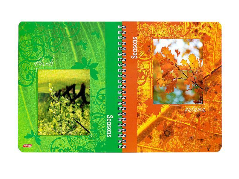 Тетрадь двойная с 4-мя обложками 96л А5ф на гребне-Времена года-96Тд5B1гр_09186Тетрадь двойная с обложками-перевертышами. Четыре дизайна обложки. 96 листов. Внутренний блок 60 гр/кв.м. Тип разметки: В клетку; тип бумаги: Шелковисто-матовая; формат: А5; обложка: картон; пол: унисекс; возраст: старшие классы; способ крепления: Гребень; упаковка: Коробка картонная