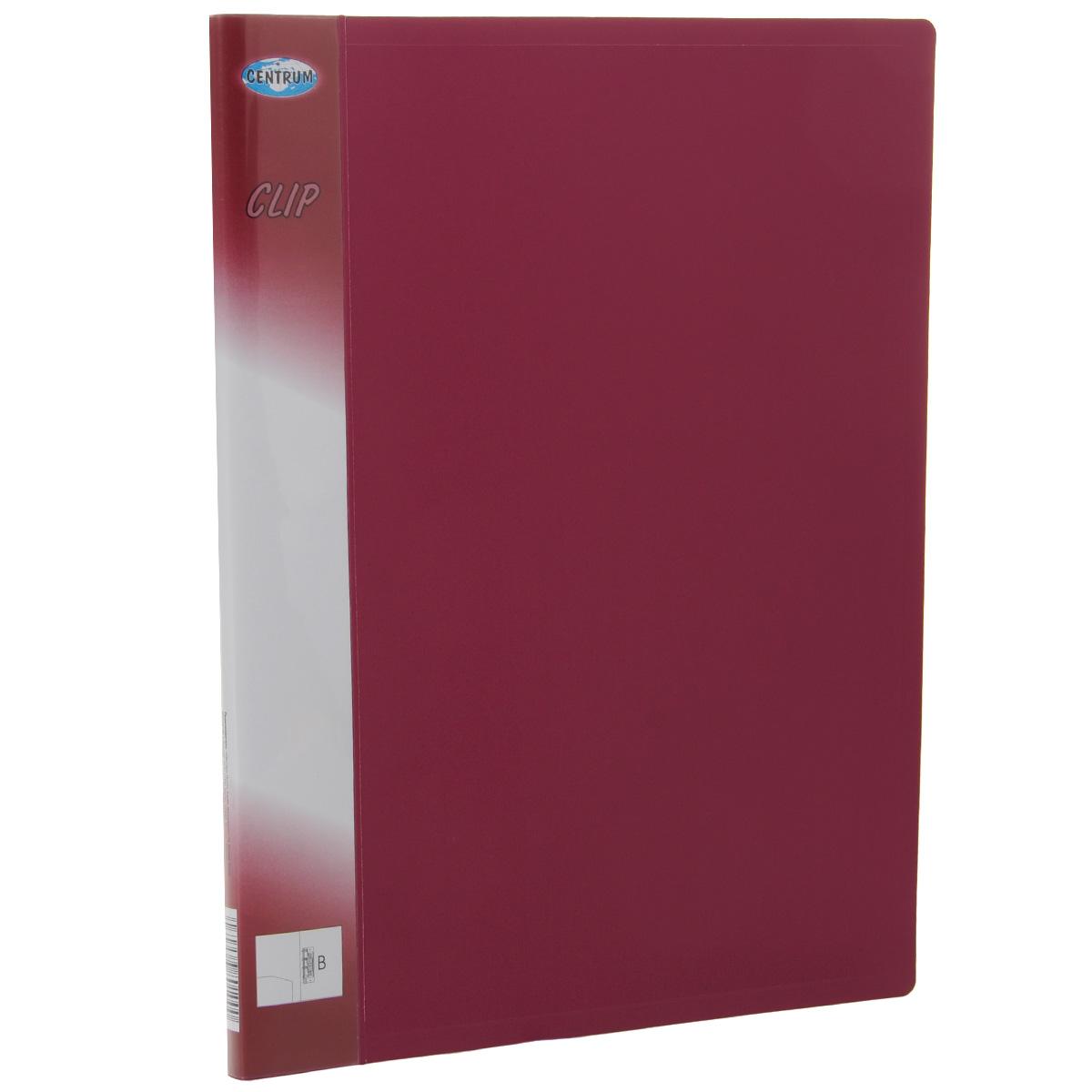 Папка Centrum с боковым зажимом, цвет: вишневый. Формат А4, клип B80100СПапка с боковым зажимом Centrum - это удобный и практичный офисный инструмент, предназначенный для хранения и транспортировки рабочих бумаг и документов формата А4. Папка изготовлена из непрозрачного плотного пластика и имеет прочный металлический зажим, который не повреждает бумагу. Папка Centrum - это незаменимый атрибут для студента, школьника, офисного работника. Такая папка надежно сохранит ваши документы и сбережет их от повреждений, пыли и влаги.