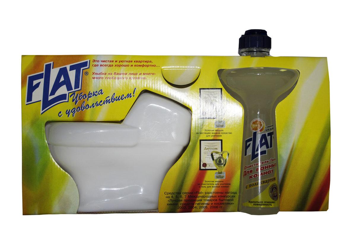 Набор Flat: очиститель унитазов, очиститель-гель для ванных комнат, с ароматом апельсина4600296001390Набор Flat включает: очиститель унитазов и очиститель-гель для ванных комнат. Очиститель для унитазов, фаянсовых раковин, никелированных изделий и кафеля. Удаляет ржавчину, устойчивые загрязнения, отложения мочевого и известкового камней. Обладает антимикробным действием. Устраняет неприятный запах. Имеет густую консистенцию. Не стекает с наклонных поверхностей. Специальная вставка-дозатор под крышкой позволяет использовать средство на труднодоступных поверхностях унитаза. Очиститель-гель для ванных комнат - мощное чистящее средство с натуральными маслами для устранения известкового налета, мыльных осадков и других загрязнений ванн, раковин, унитазов. Не повреждает очищаемую поверхность. Введенный в состав поликварт образует невидимую пленку, защищающую от загрязнений и позволяющую быстро высушивать поверхность. Вязкая консистенция позволяет использовать очиститель на неровных и труднодоступных поверхностях и расходовать экономно. Регулярное применение средства обеспечит...