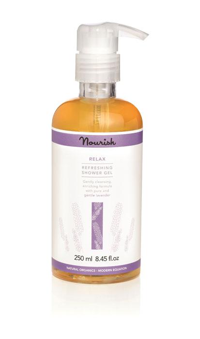 Nourish Гель для душа Relax, с экстрактом лаванды, для чувствительной кожи, 250 млБ63003 мятаУвлажняющий гель для душа Relax является прекрасным средством для обладателей чувствительной кожи благодаря богатому витаминами маслу ши, которое глубоко и эффективно питает кожу, органическому экстракту брусники с его способностью укреплять клетки эпидермиса и экстракту лаванды, которая, освежает и повышает общий тонус кожи. Товар сертифицирован.