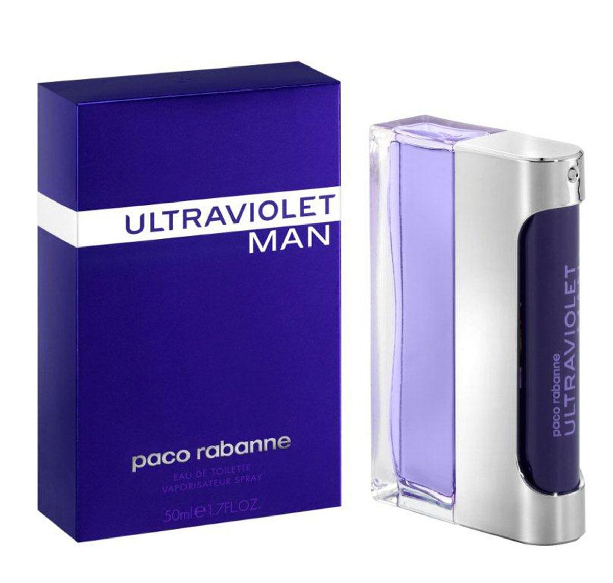 Paco Rabanne Туалетная вода Ultraviolet Man, мужская, 50 мл3349666010525Герой аромата Ultraviolet от Paco Rabanne ценит новые технологии и не боится отличаться от других. Его привлекает только лучшее. Свежий, древесный, амбровый аромат, олицетворяющий истинно мужскую чувственность, был воссоздан благодаря технологии NATURE PRINT. Сначала аромат раскладывают на молекулы и анализируют, затем идентифицируют и с точностью воссоздают наиболее чистые, устойчивые, лучшие ноты. Начальные ноты аромата – это жидкая мята. Ноты сердца звучат органическим ветивером и кристаллическим мхом. Базовые ноты – это серая амбра. Верхняя нота: Русский кориандр, итальянская мята. Средняя нота: Черный перец из Танзании, серая амбра. Шлейф: Пачули из Индонезии, дубовый мох. Руский кориандр, итальянская мята - яркие неземные аккорды аромата.