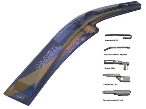 Щетка стеклоочистителя Avantech Smart NEO, бескаркасная, 37,5 см, 1 штSN15Avantech Smart NEO имеют широкую применяемость креплений на 95% автомобилей производства Японии, Кореи, США, Европы и России. Современные технологии производства обеспечивают равномерное нажатие щетки в независимости от кривизны стекла, а использование синтетической резины и графитового покрытия обеспечивает бесшумную работу и идеальное удаление влаги. Щетки Avantech Smart NEO обладают универсальностью использования, за счет симметричного спойлера их можно устанавливать на автомобили с левым и правым расположением руля, без необходимости менять спойлеры местами. Возможность всесезонного использования. Бескаркасные щетки стеклоочистителей SMART NEO можно установить на следующие типы рычагов: U-Hook - Крюк. Самый распространенный среди всех производителей автомобилей. Более 70% моделей автомобилей имеют рычаг такого типа. Bayonet - Штыковой замок. Устанавливался на ряд моделей Seat, Renault (в том числе Megane), Citroen, Fiat, MMC. ...