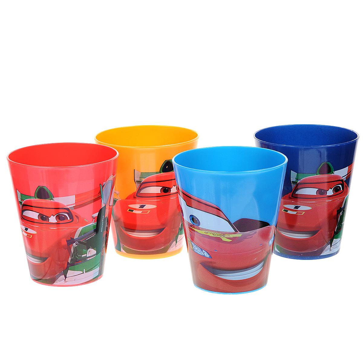 Набор стаканов Тачки, 280 мл, 4 шт050109013Яркие стаканы из набора Тачки доставят малышу массу удовольствия. Изготовлены они из высококачественного ударопрочного пластика. Со стенок стакана вашему малышу приятно улыбаются персонажи популярного мультфильма Тачки. Прекрасное дополнение к праздничному столу на празднике!В наборе четыре стакана.