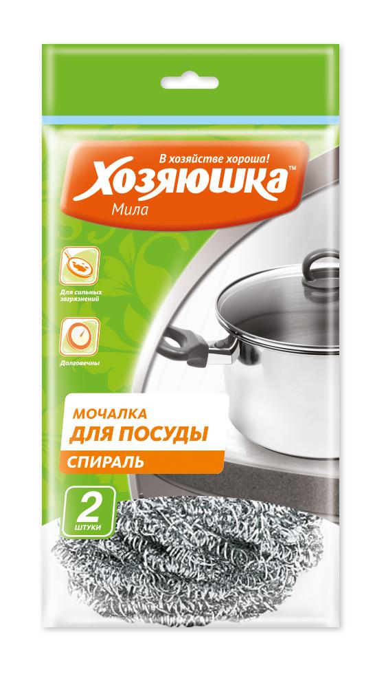 Набор губок спиральных Хозяюшка Мила для посуды, 2 штS03301004Набор Хозяюшка Мила состоит из двух спиральных губок, выполненных из тонкой стружки нержавеющей стали. Губка эффективно устраняет сильные загрязнения. Имеет долгий срок службы, не окисляются. Прекрасно справляется с очисткой грилей, барбекю, решёток и других предметов для жарки. Не использовать для мытья антипригарных поверхностей, пластиковых и эмалированных предметов и других деликатных поверхностей.Комплектация: 2 шт.Диаметр губки: 7,5 см.