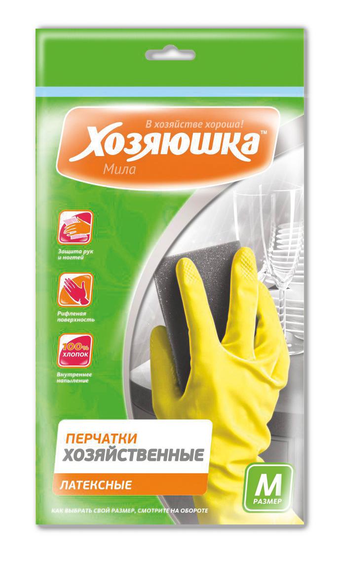 Перчатки хозяйственные Хозяюшка Мила, латексные. Размер М17002Перчатки хозяйственные защищают руки от вредных воздействий при любых работах по дому, в саду, при ремонтных работах. Хлопковое напыление обеспечивает комфорт и дополнительное удобство для рук, предотвращает возникновение парникового эффекта. Рифленая поверхность позволяет надежно удерживать предметы в руках.