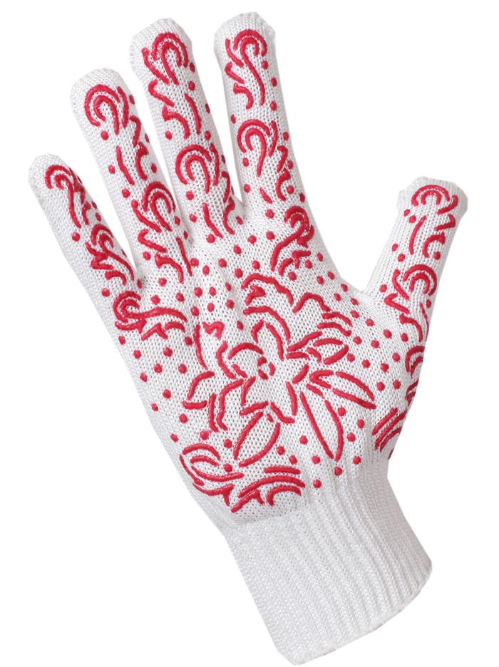 Перчатки садовые Хозяюшка Мила, цвет: красный. 1702917029Трикотажные перчатки с оригинальным антискользящим защитным напылением. Выдерживают более 50 стирок, прочные и долговечные за счет сочетания хлопковой и трикотажной нитей. Прекрасная альтернатива скучным перчаткам для работы в саду.