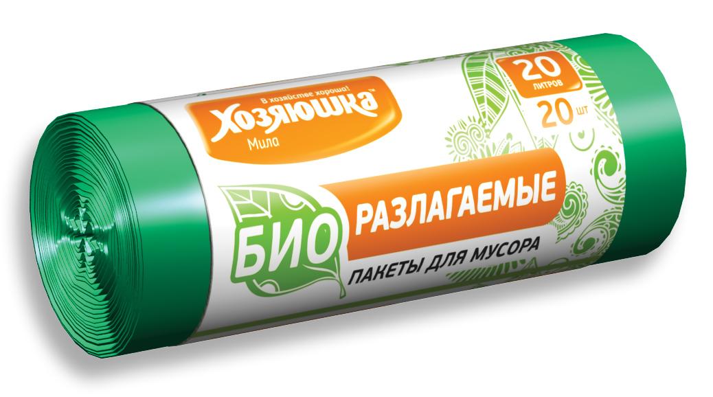 Пакеты для мусора Хозяюшка Мила, биоразлагаемые, цвет: зеленый, 20 л, 20 шт07024Биоразлагаемые пакеты для мусора Хозяюшка Мила созданы из материалов, которые после использования разлагаются за 1,5-2 года под действием кислорода, воды и света и превращаются в органические соединения. Поэтому биоразлагаемые пакеты не оказывают негативного воздействия на природу и в последнее время пользуются всё большим спросом. Данный вид пакетов полностью аналогичен обычным пакетам для мусора по прочности и внешнему виду. Объем мешка: 20 л. Количество в упаковке: 20 шт. Длина мешка: 57 см.