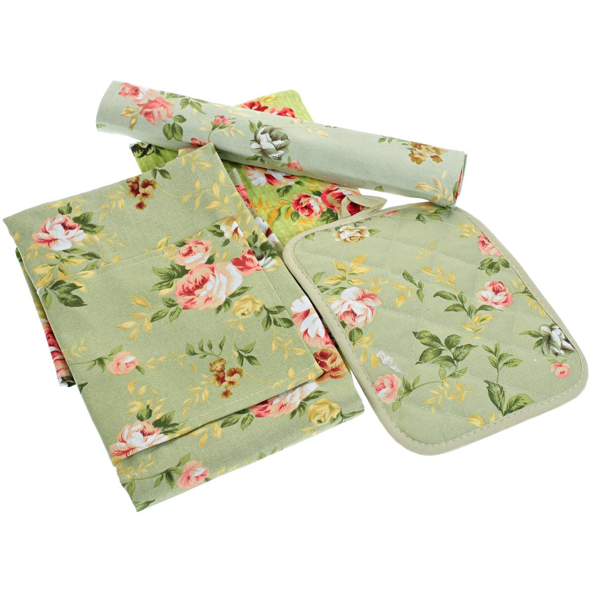 Подарочный набор для кухни Bonita Английская коллекция, цвет: зеленый, 4 предмета. 20100214309SS 4041Подарочный набор для кухни Bonita Английская коллекция состоит из прихватки с петелькой для подвешивания, вафельного полотенца, салфетки и фартука. Предметы набора выполнены из 100% хлопка и оформлены цветочным принтом. Такой набор оригинально украсит интерьер и будет уместен на любой кухне. Прекрасно подойдет в качестве подарка, который окажется не только приятным, но и полезным в хозяйстве. Набор упакован в подарочную коробку.