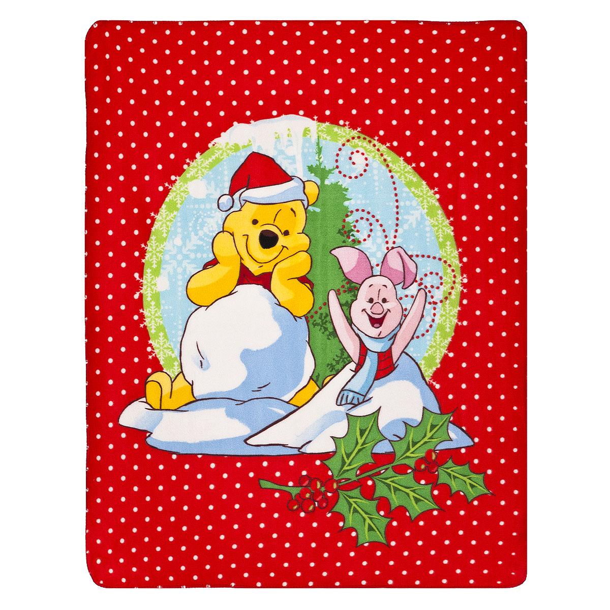 """Плед флисовый новогодний Disney """"Винни и его друзья"""", 130 см х 160 см 65553"""