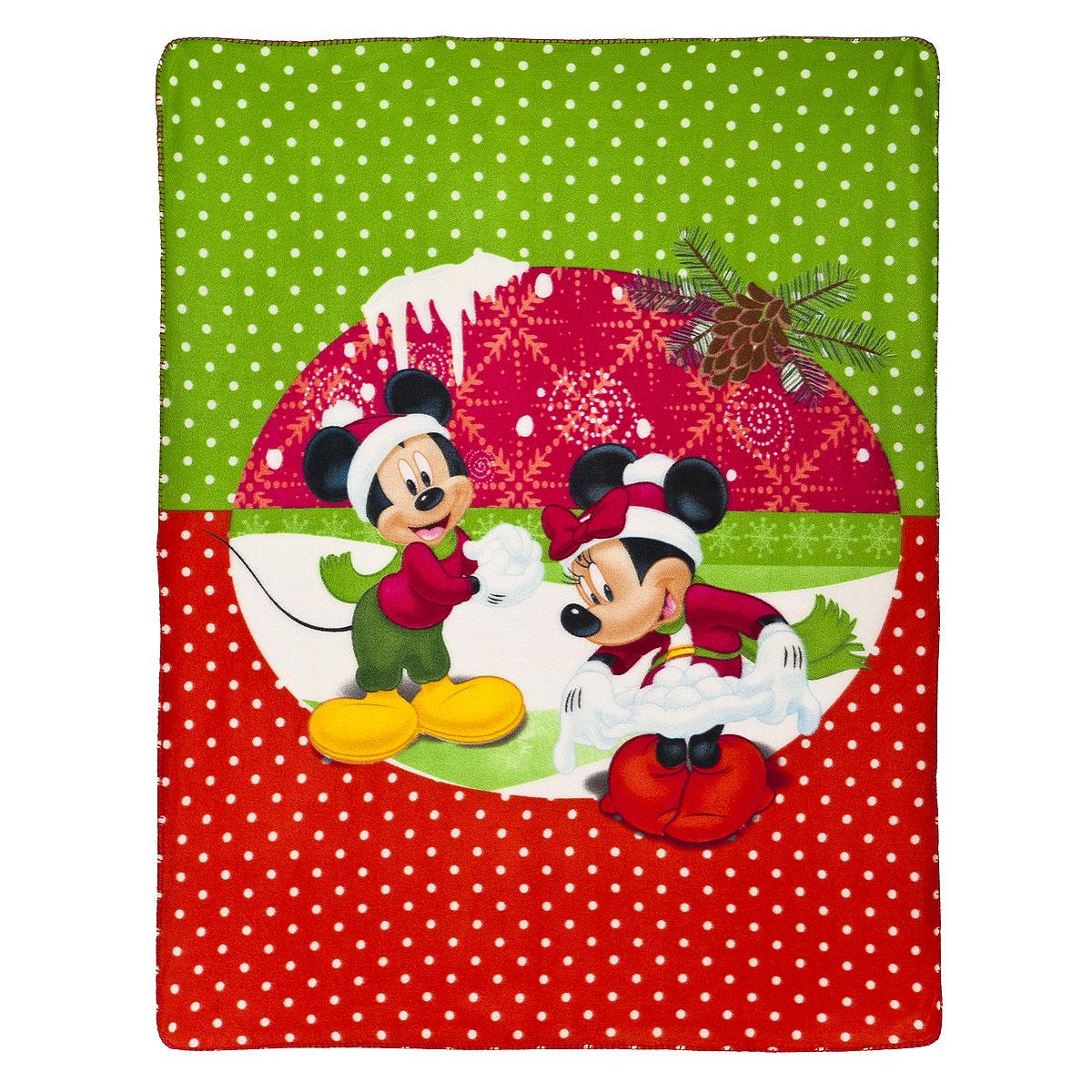 "Плед флисовый новогодний Disney ""Микки и Минни"", 130 х 160 см 65554"