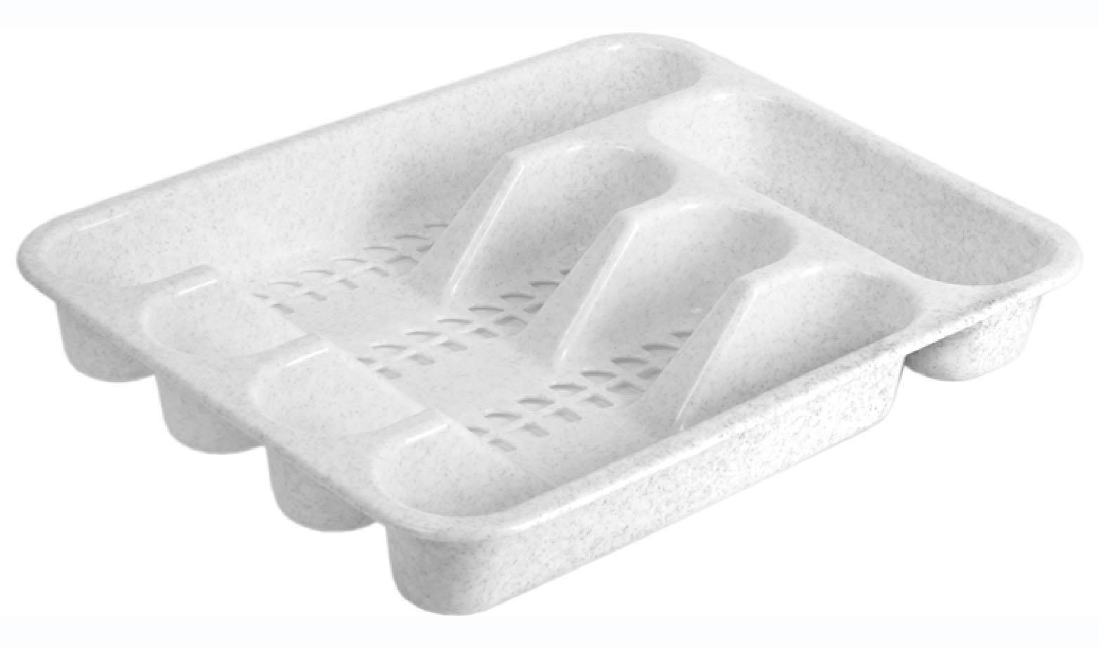 Лоток для столовых приборов Idea, цвет: мраморный, 33 х 26 см. М1142М 1142Лоток для столовых приборов Idea изготовлен из прочного пластика. Изделие имеет 3 одинаковых секции для столовых ложек, вилок и ножей, секцию для чайных ложек и длинную секцию для различных кухонных принадлежностей. Лоток помещается в любой кухонный ящик.