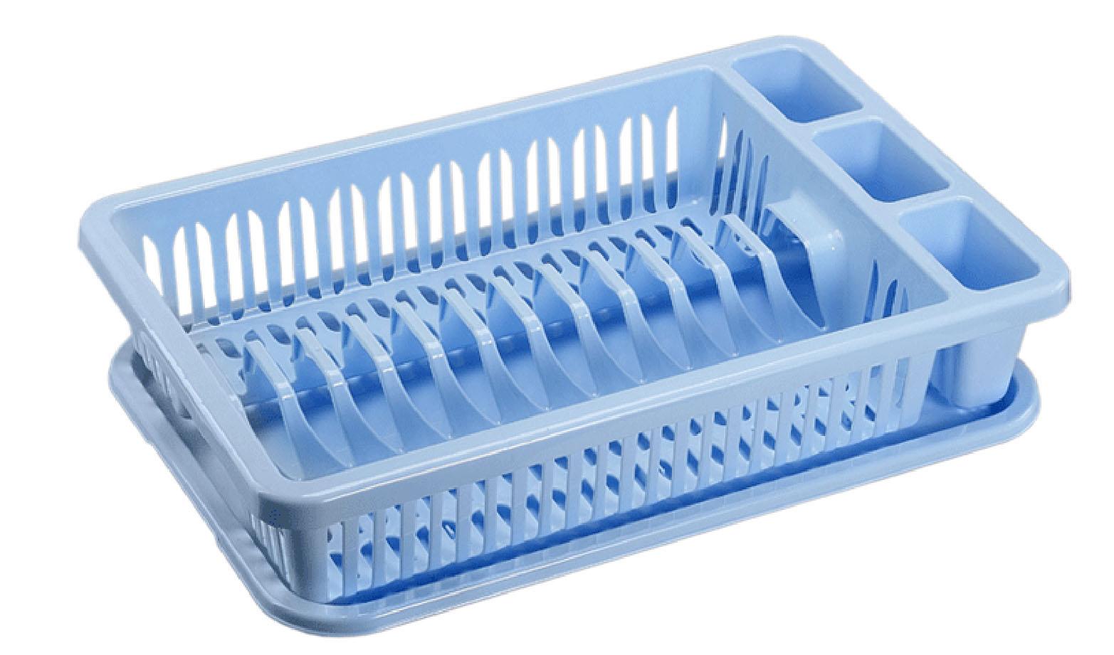 Сушилка для посуды Idea, с поддоном, цвет: голубой, 43 х 28 х 9 смМ 1174Сушилка Idea, выполненная из прочного пластика, представляет собой решетку с ячейками, в которые помещается посуда: тарелки, кружки, ложки, ножи. Изделие оснащено пластиковым поддоном для стекания воды. Сушилку можно установить в любом удобном месте. На ней можно разместить большое количество предметов. Вместительные размеры и оригинальный дизайн выделяют эту сушку из ряда подобных. Размер сушилки: 43 х 28 х 9 см. Размер поддона: 42 х 28 х 1,8 см.