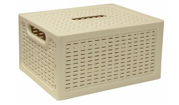 Ящик универсальный Idea Ротанг, с крышкой, цвет: белый, 28 х 18,5 х 14,5 смS03301004Универсальный ящик Idea Ротанг выполнен из пищевого пластика и предназначен для хранения различных предметов и аксессуаров. Ящик оснащен крышкой и двумя ручками для удобной переноски. Элегантный выдержанный дизайн изделия позволяет органично вписаться в ваш интерьер и стать его элементом.