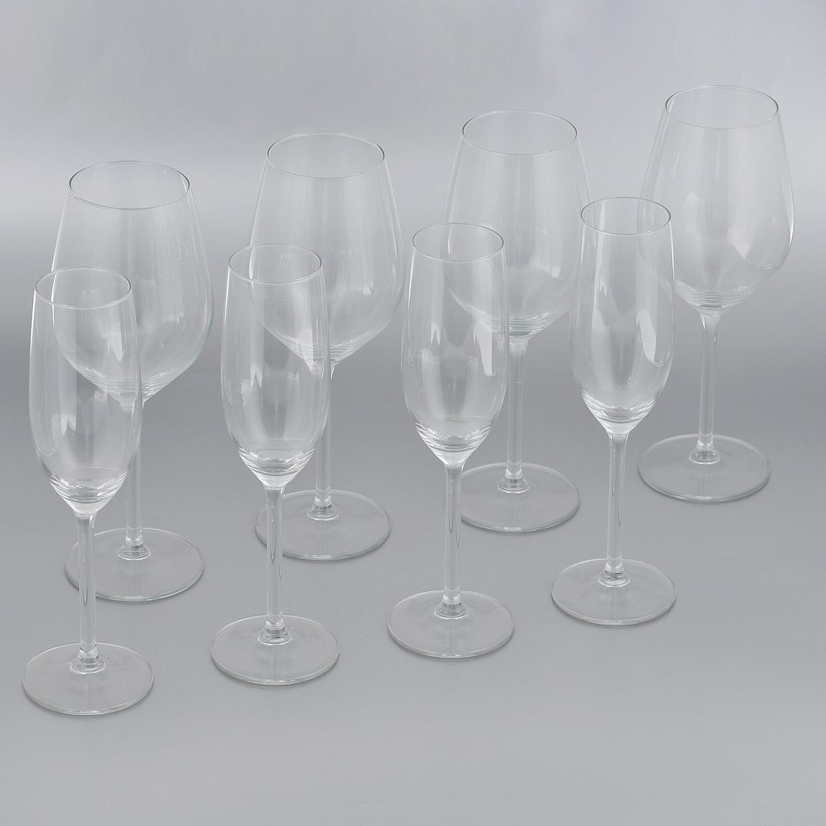 Набор бокалов Royal Leerdam Double Date, 8 предметов242713Набор Royal Leerdam Double Date состоит из 8 бокалов, выполненных из высококачественного стекла. В наборе 4 бокала для вина и 4 бокала для шампанского. Набор бокалов прекрасно оформит сервировку стола и создаст в доме атмосферу романтики и уюта. Можно мыть в посудомоечной машине.