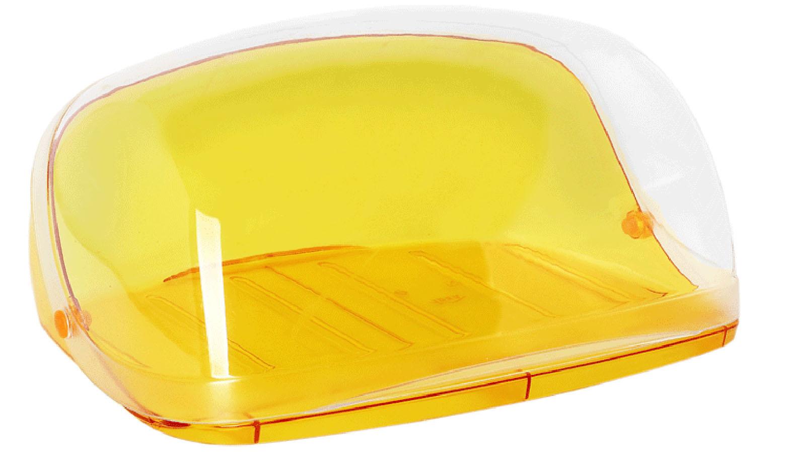 Хлебница Idea Кристалл, цвет: оранжевый, прозрачный, 40 х 29 х 16 смVT-1520(SR)Хлебница Idea Кристалл, изготовленная из пищевого пластика, обеспечивает идеальные условия хранения для различных видов хлебобулочных изделий, надолго сохраняя их свежесть. Изделие оснащено плотно закрывающейся крышкой, защищающей продукты от воздействия внешних факторов (запахов и влаги).Вместительность, функциональность и стильный дизайн позволят хлебнице стать не только незаменимым аксессуаром на кухне, но и предметом украшения интерьера. В ней хлеб всегда останется свежим и вкусным.