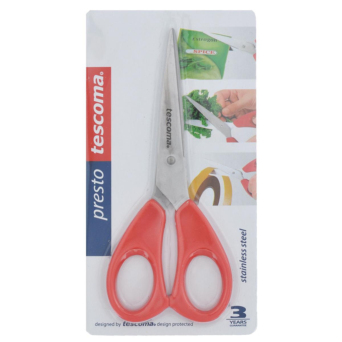 Ножницы Tescoma Presto, универсальные, 16 см888210Ножницы Tescoma Presto, легкие и удобные в использовании, изготовлены из первоклассной нержавеющей стали. Ручки сделаны из прочной пластмассы. Универсальные ножницы пригодны для резки всех обычных материалов - бумаги, ткани и др.