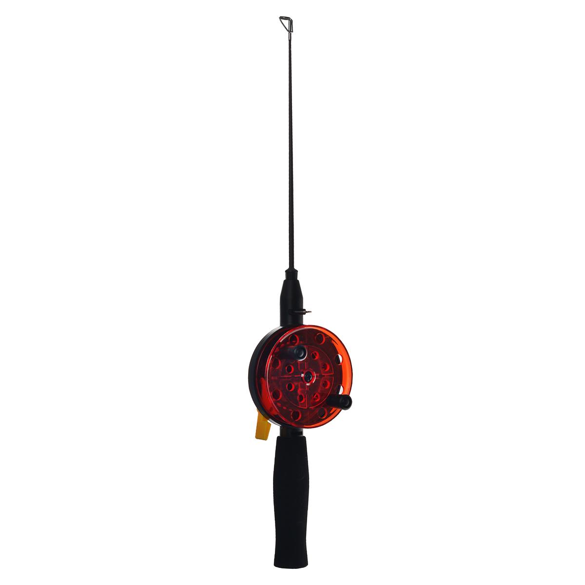 Удочка зимняя SWD HR202, цвет: черный, красный, d 76 мм, ручка неопрен 10 см, хл-кар 20 см28385Зимняя удочка SWD HR202 с открытой катушкой диаметром 76 мм и клавишным стопором. Оснащена пластиковым хлыстом длиной 20 см с тюльпаном на конце. Ручка длиной 100 мм выполнена из неопрена.