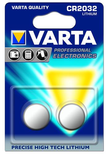 Батарейка Varta Professional Electronics, тип CR2032, 3В, 2 шт7615Батарейка Varta Professional Electronics обеспечивает высокую энергию для автомобильных ключей, калькуляторов, фотоаппаратов и других электронных приборов.