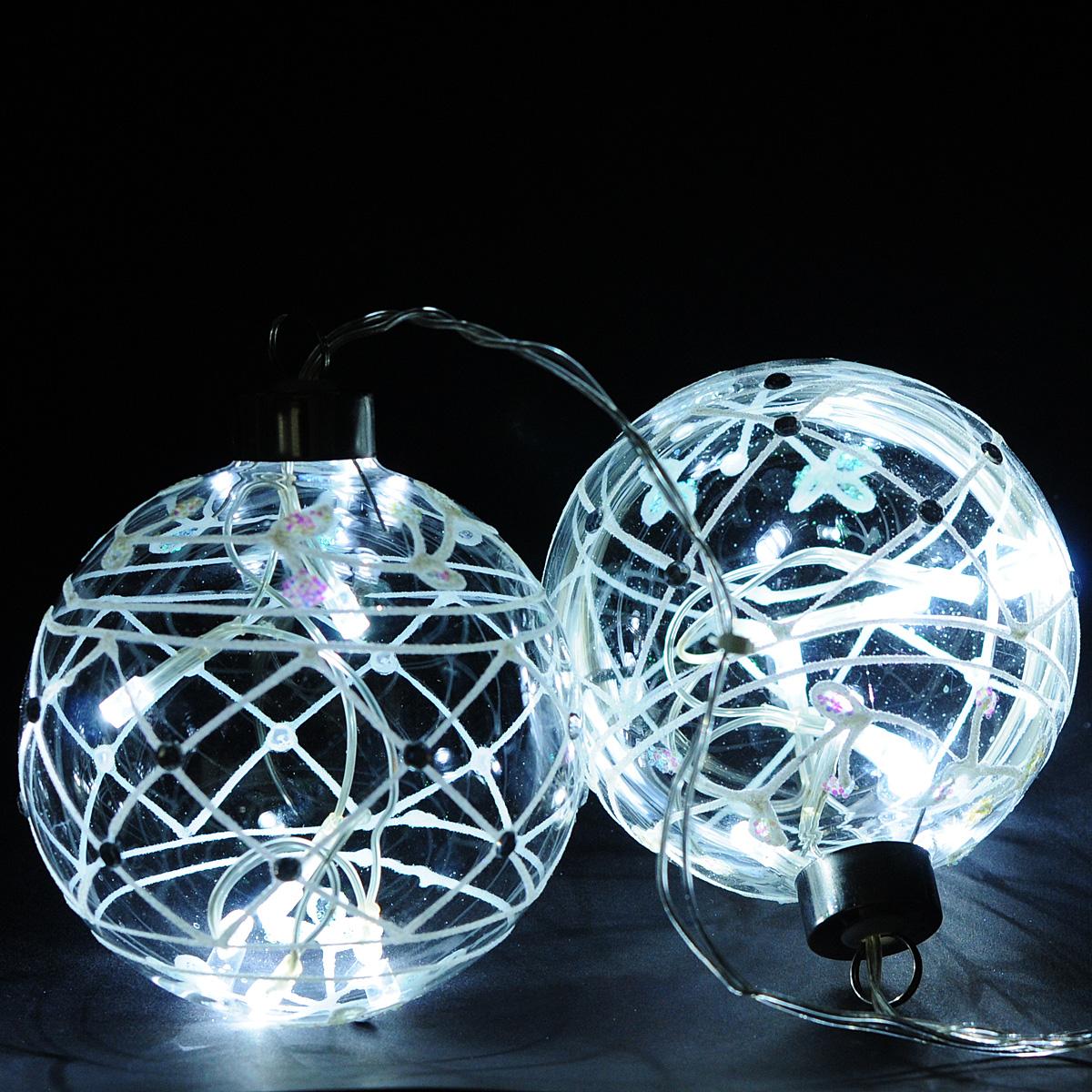 Гирлянда электрическая Lunten Ranta Шары, 12 светодиодов, 1,2 м60061Гирлянда электрическая Lunten Ranta Шары изготовлена из пластика и металла. Гирлянда выполнена в оригинальном стиле в виде двух стеклянных шаров, в которые помещены светодиоды. Шары декорированы блестками. Такая гирлянда украсит ваш дом. Оригинальный дизайн и красочное исполнение создадут праздничное настроение. Откройте для себя удивительный мир сказок и грез. Почувствуйте волшебные минуты ожидания праздника, создайте новогоднее настроение вашим дорогим и близким. Работает от сети 220В.