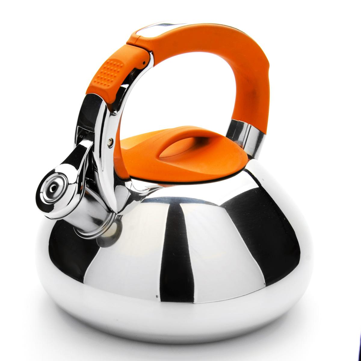 Чайник Mayer & Boch со свистком, цвет: оранжевый, 2,9 л. 2359223592Чайник Mayer & Boch выполнен из высококачественной нержавеющей стали, что обеспечивает долговечность использования. Внешнее зеркальное покрытие придает приятный внешний вид. Фиксированная ручка из нейлона делает использование чайника очень удобным и безопасным. Чайник снабжен свистком и устройством для открывания носика, которое находится на ручке. Можно мыть в посудомоечной машине. Пригоден для всех видов плит, включая индукционные. Высота чайника (без учета крышки и ручки): 10 см. Диаметр основания: 16,5 см.