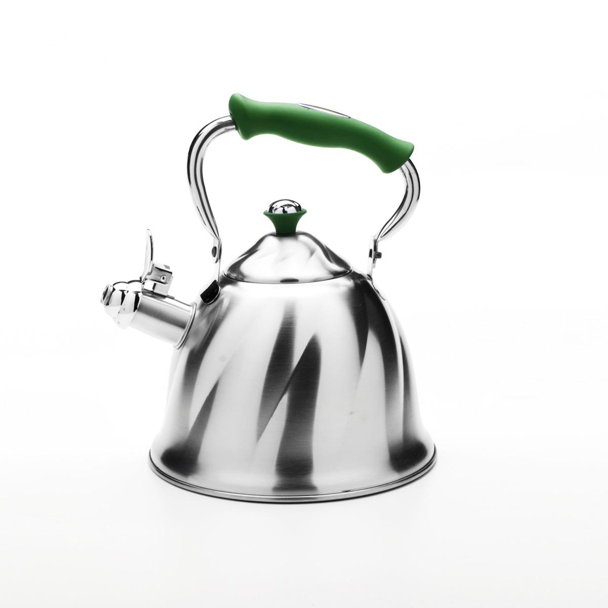 Чайник Mayer & Boch со свистком, цвет: зеленый, 3 л. 2377523775Чайник Mayer & Boch выполнен из высококачественной нержавеющей стали, что обеспечивает долговечность использования. Внешнее матовое покрытие придает приятный внешний вид. Фиксированная ручка из бакелита делает использование чайника очень удобным и безопасным. Чайник снабжен свистком и устройством для открывания носика. Можно мыть в посудомоечной машине. Пригоден для всех видов плит, кроме индукционных. Высота чайника (без учета крышки и ручки): 13 см. Диаметр основания: 21 см.