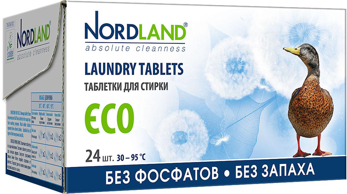 Таблетки для стирки Nordland ECO, 24 х 33,75 г390582Таблетки для стирки Nordland ECO без фосфатов и без запаха. Предназначены для стирки белого и нелиняющего цветного белья в стиральных машинах всех типов при температуре от +30° до +95°С в воде любой жесткости. - Дерматологически протестированы - Полностью биоразлагаемые - Без фосфатов - Без запаха - Без консервантов - Без красителей - Гипоаллергенный продукт, безопасный для чувствительной кожи - Подходят для стирки детского белья - Щадящее влияние на водную экосистему - Ограниченное содержание вредных компонентов - Соответствуют требованиям экологичности - EU Ecolabel. Состав: 15-30%: цеолиты, кислородный отбеливатель; 5-15%: неионные ПАВ, поликарбоксилаты; менее 5%: мыло, энзимы. Вес одной таблетки: 33,75 г. Количество таблеток: 24 шт. Общий вес: 810 г. Товар сертифицирован.