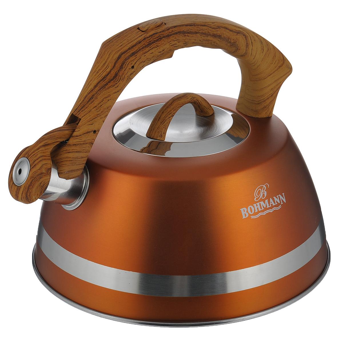 Чайник Bohmann со свистком, цвет: оранжевый, 3,5 л. BH - 9967BH - 9967Чайник Bohmann изготовлен из высококачественной нержавеющей стали с матовым цветным покрытием. Фиксированная ручка изготовлена из бакелита с прорезиненным покрытием. Носик чайника оснащен откидным свистком, звуковой сигнал которого подскажет, когда закипит вода. Свисток открывается нажатием кнопки на ручке. Чайник Bohmann - качественное исполнение и стильное решение для вашей кухни. Подходит для использования на газовых, стеклокерамических, электрических, галогеновых и индукционных плитах. Нельзя мыть в посудомоечной машине.