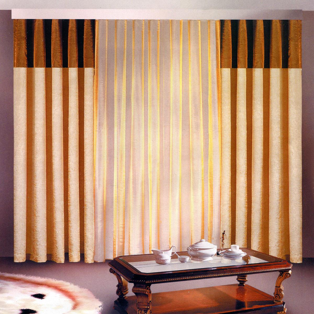 Комплект штор Zlata Korunka, на ленте, цвет: венге, высота 250 см. Б097Б097 венгеРоскошный комплект штор Zlata Korunka, выполненный из полиэстера, великолепно украсит любое окно. Комплект состоит из двух штор и тюля. Воздушная ткань и приятная, приглушенная гамма привлекут к себе внимание и органично впишутся в интерьер помещения. Этот комплект будет долгое время радовать вас и вашу семью! Шторы крепятся на карниз при помощи ленты, которая поможет красиво и равномерно задрапировать верх. Ширина шторы: 140 +/- 5 см.