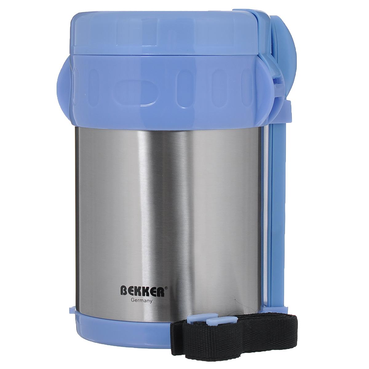 Термос Bekker Koch, с контейнерами, цвет: голубой, стальной, 2 л. BK-42115610Пищевой термос с широким горлом Bekker, изготовленный из высококачественной нержавеющей стали 18/8, прост в использовании и многофункционален. Изделие имеет двойные стенки, что позволяет пище долго оставаться горячей. Термос снабжен 3 пластиковыми контейнерами разного объема, а также металлической ложкой и вилкой в оригинальном чехле, который вставляется в специальную выемку сбоку термоса. Для удобной переноски предусмотрен специальный ремешок. Термос предназначен для хранения горячей и холодной пищи, замороженных продуктов, мороженного, фруктов и льда. Крышка плотно закрывается на две защелки. Высота (с учетом крышки): 22 см.Диаметр горлышка: 13 см.Диаметр контейнеров: 11,5 см.Высота контейнеров: 9 см; 5 см; 3,5 см. Объем контейнеров: 700 мл; 400 мл; 250 мл.Длина вилки/ложки: 15 см.