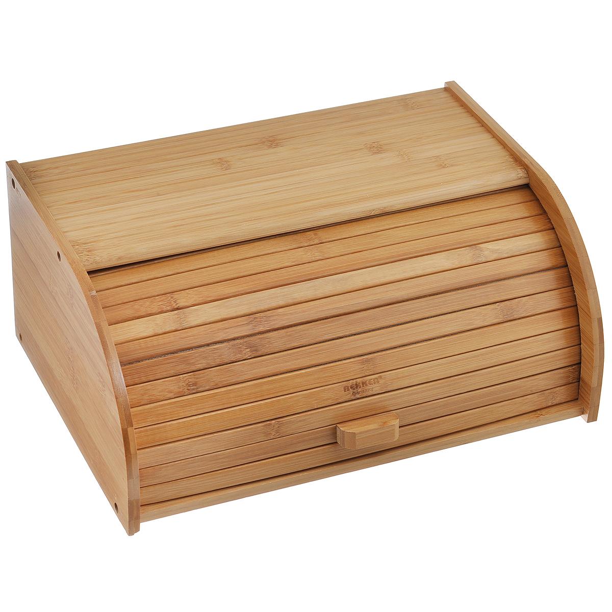 Хлебница Bekker Koch, 38 х 27 х 16 смBK-4807Хлебница Bekker Koch, изготовленная из бамбука, обеспечивает идеальные условия хранения для различных видов хлебобулочных изделий, надолго сохраняя их свежесть и защищая от воздействия внешних факторов (запахов и влаги). Прочная конструкция каркаса и усиленный край гарантируют долговечное использование. Изделие отличается вместительностью: объем достаточен для хранения нескольких хлебобулочных изделий. Эргономичный дизайн крышки не требует дополнительного места при открывании. Крышка открывается без дополнительных усилий, благодаря специальной конструкции боковых пазов. Такая хлебница идеально впишется в интерьер любой кухни и сохранит ваш хлеб свежим и вкусным.