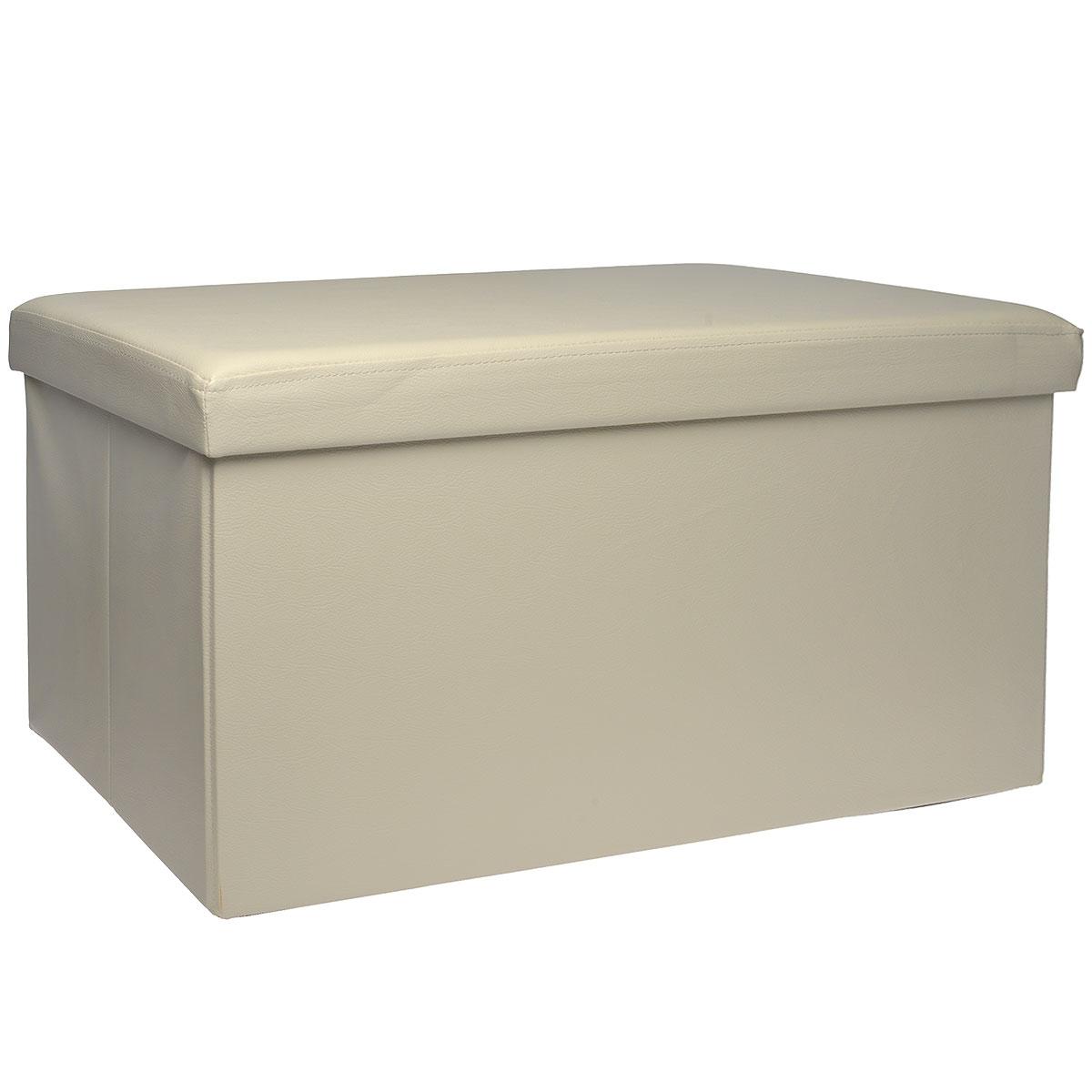 Пуфик Hausmann, с отделением для хранения, цвет: бежевый, 76 x 38 x 38 см4A-211-2Пуфик Hausmann- это очень удобная система хранения вещей в виде пуфика (стульчик), выдерживающего до 200 кг. Пуфик выполнен из МДФ и обтянут одноцветной искусственной кожей. Для мягкого сидения верхняя часть набита поролоном. Такой пуфик станет оригинальным объектом интерьера вашей прихожей или комнаты.