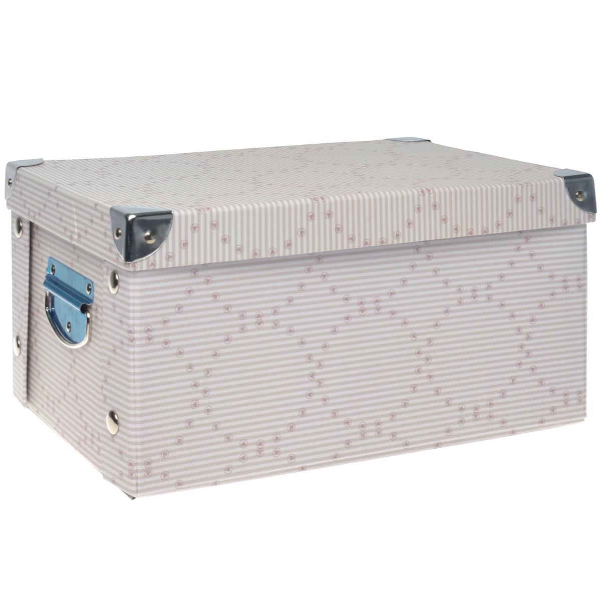 Коробка для хранения Hausmann, складная, цвет: серый, розовый, 35 х 25 х 17,5 смHM-9742-3